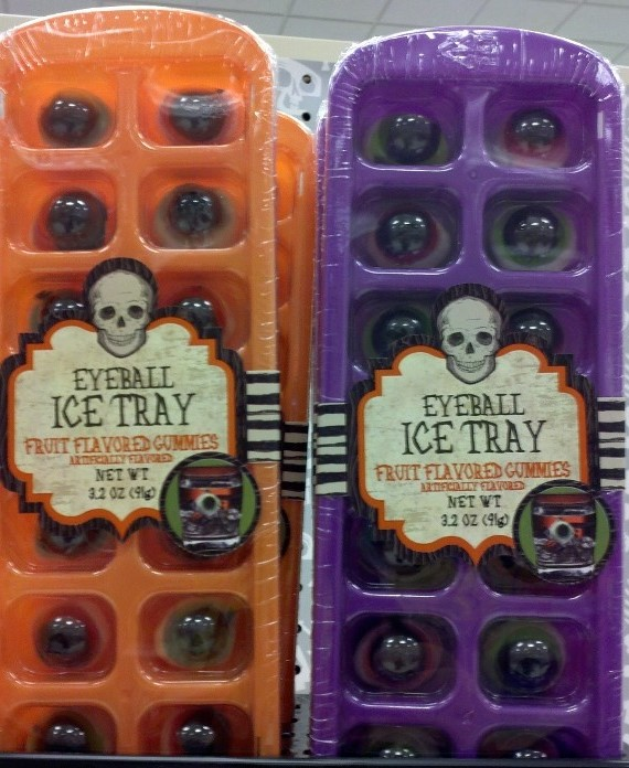 Ice cube tray with Gummy eyeballs