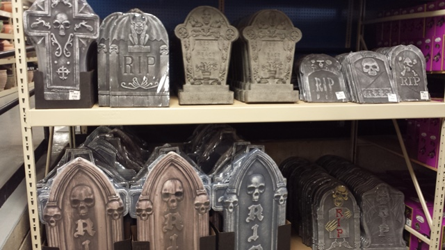 A good selection of Tombstones.  The 3rd and 4th from the top left are actually plaster.  The rest are Styrofoam.