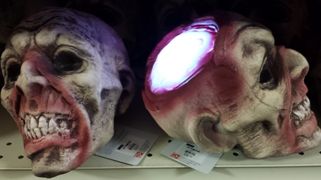 The exposed brain on this head is lit with color-changing LED's.  Perfect for a mad scientist laboratory!